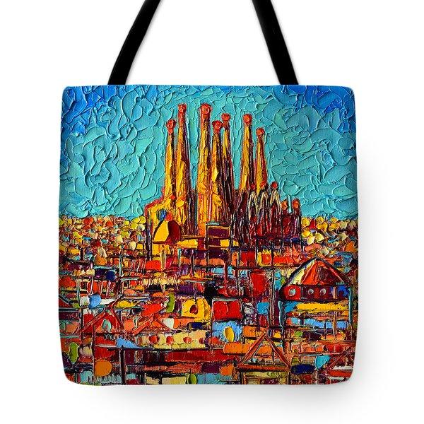 Barcelona Abstract Cityscape - Sagrada Familia Tote Bag by Ana Maria Edulescu