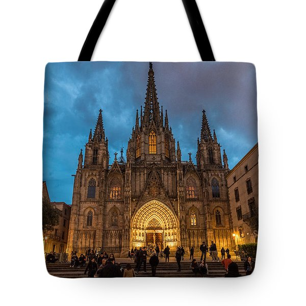 Barcelona Cathedral At Dusk Tote Bag by Randy Scherkenbach