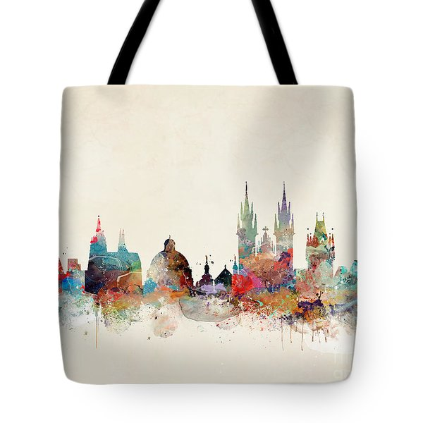 Tote Bag featuring the painting Barcelona City Skyline by Bri B