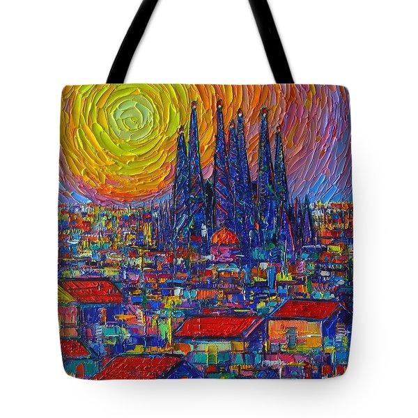 Barcelona Colorful Sunset Over Sagrada Familia Abstract City Knife Oil Painting Ana Maria Edulescu Tote Bag