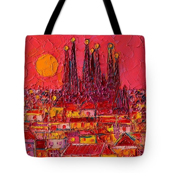 Barcelona Moon Over Sagrada Familia - Palette Knife Oil Painting By Ana Maria Edulescu Tote Bag by Ana Maria Edulescu