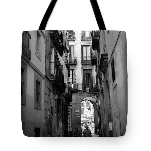Barcelona Narrow Street Bw Tote Bag