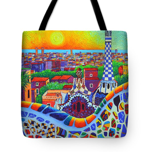 Barcelona Park Guell Sunrise Gaudi Tower Textural Impasto Knife Oil Painting By Ana Maria Edulescu Tote Bag