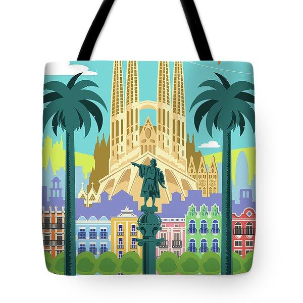 Barcelona Poster - Retro Travel  Tote Bag