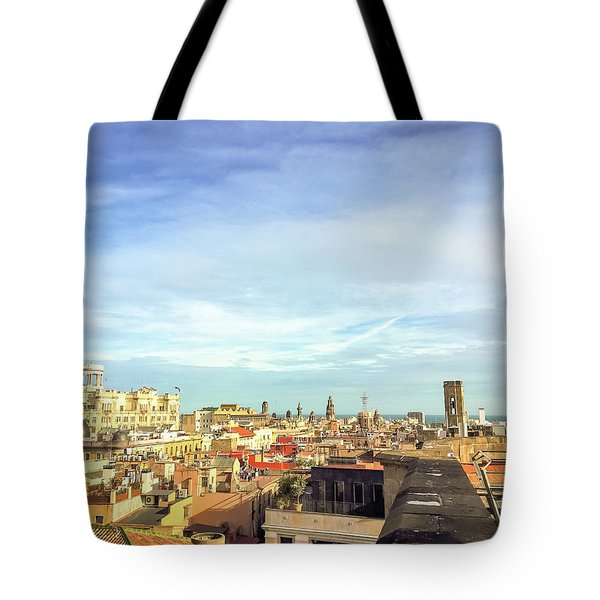 Tote Bag featuring the photograph Barcelona Rooftops by Colleen Kammerer