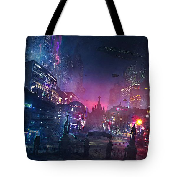 Barcelona Smoke And Neons Sant Pau I La Sagrada Familia Tote Bag