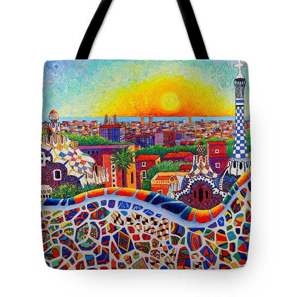 Barcelona Sunrise Colors From Park Guell Modern Impressionism Knife Oil Painting Ana Maria Edulescu Tote Bag