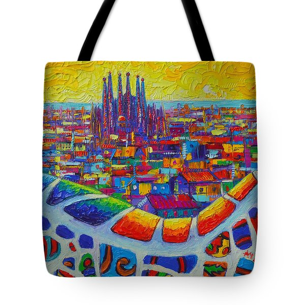 Barcelona View Sagrada From Park Guell Impressionist Abstract City Knife Painting Ana Maria Edulescu Tote Bag