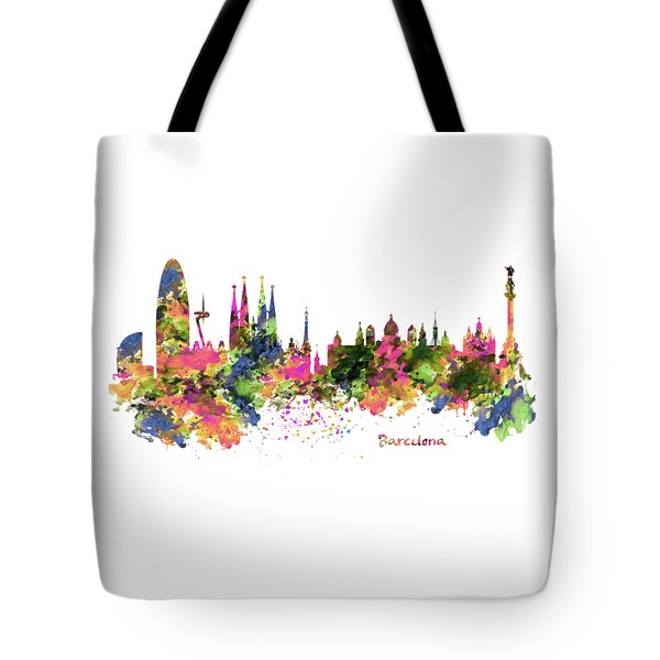 Barcelona Watercolor Skyline Tote Bag by Marian Voicu
