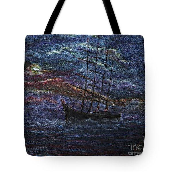 Tote Bag featuring the pastel Barco Negro- Tribute To Amalia Rodrigues by AmaS Art