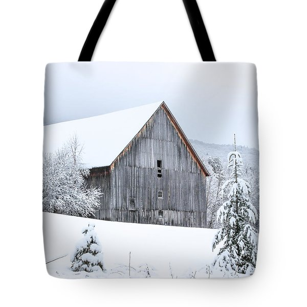 Barn After Snow Tote Bag by Tim Kirchoff
