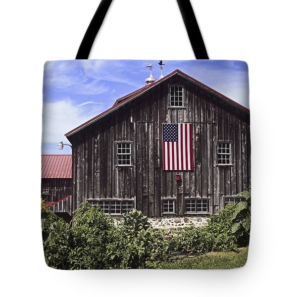 Barn And American Flag Tote Bag by Sally Weigand