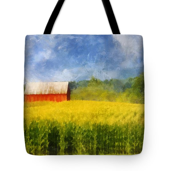 Tote Bag featuring the digital art Barn And Cornfield by Francesa Miller