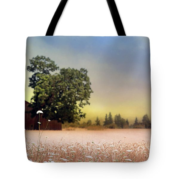 Tote Bag featuring the photograph Barn And Lace by Rebecca Cozart