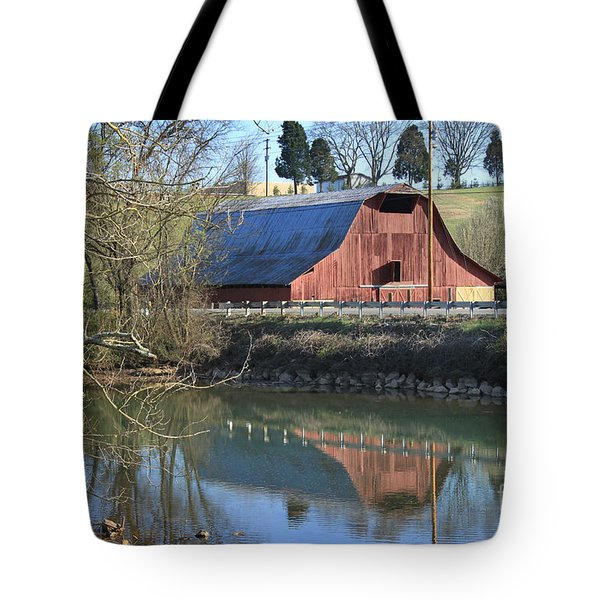 Tote Bag featuring the photograph Barn And Reflections by Todd Blanchard