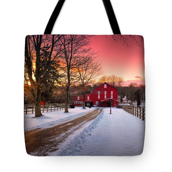 Barn At Sunset  Tote Bag