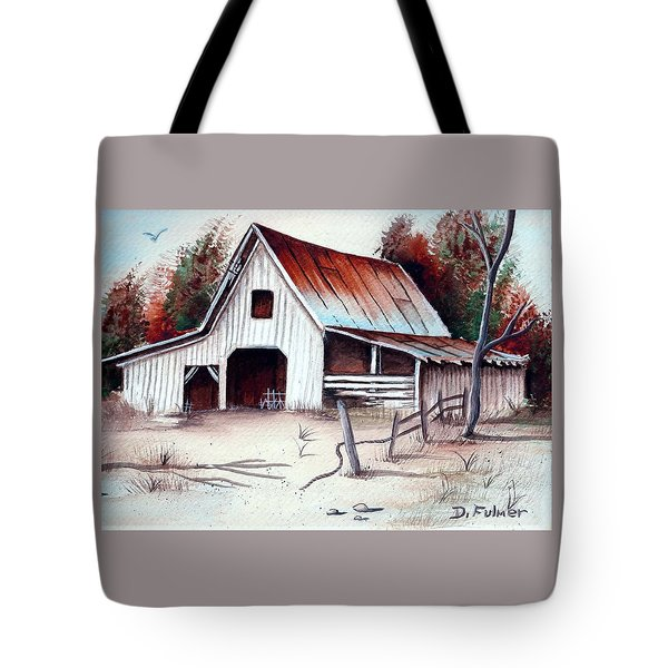Tote Bag featuring the painting Barn by Denise Fulmer