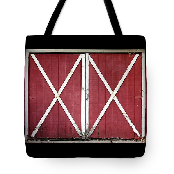Tote Bag featuring the photograph Red Barn Doors by Sheila Brown