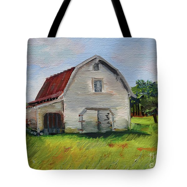 Tote Bag featuring the painting Barn-harrison Park, Ellijay-pinson Barn by Jan Dappen