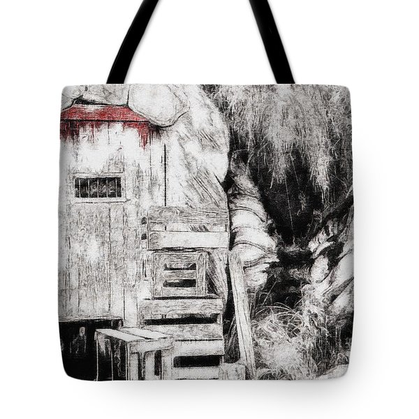 Barn House And Blood On Door Tote Bag