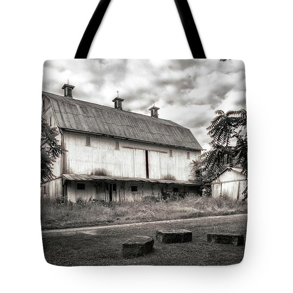 Barn In Black And White Tote Bag