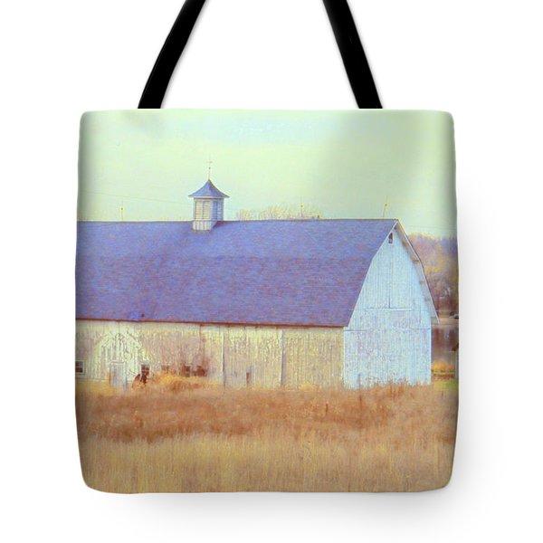 Barn In Blue Tote Bag
