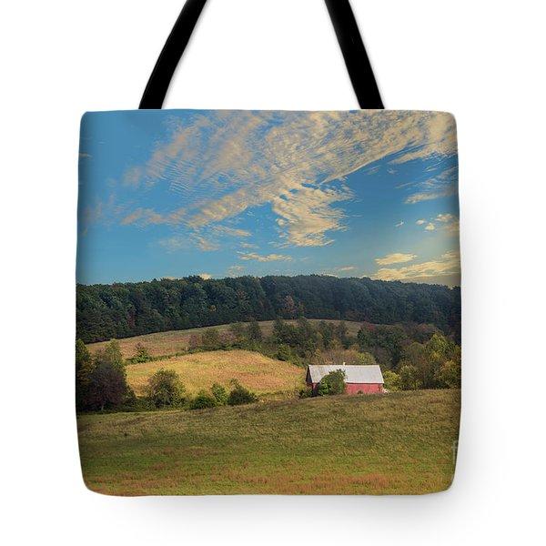 Barn In Field Tote Bag