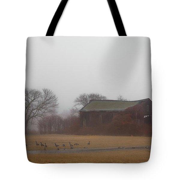 Barn In Fog - Color Tote Bag