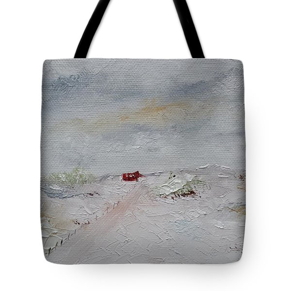 Tote Bag featuring the painting Barn In Winter by Judith Rhue