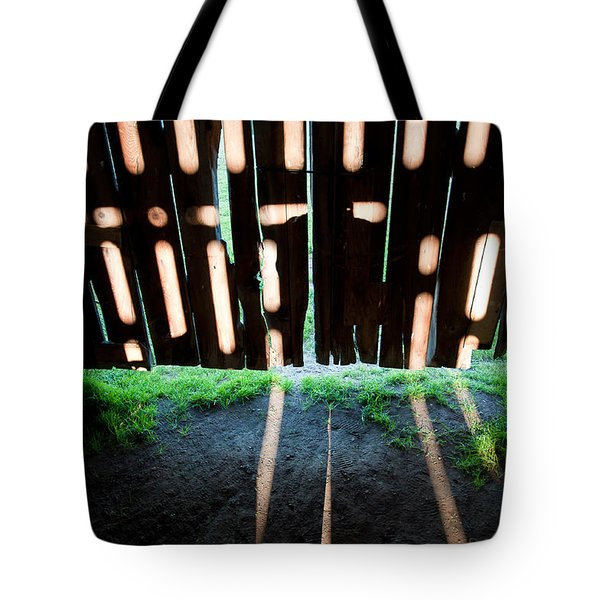 Barn Interior Shadows Tote Bag