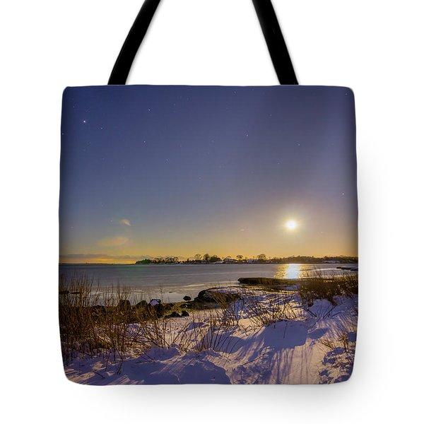 Barn Island Moonrise Tote Bag