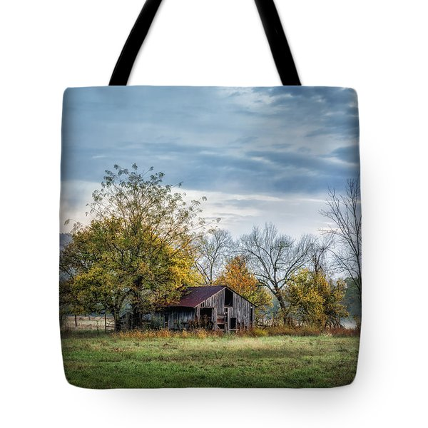 Barn On A Misty Morning Tote Bag