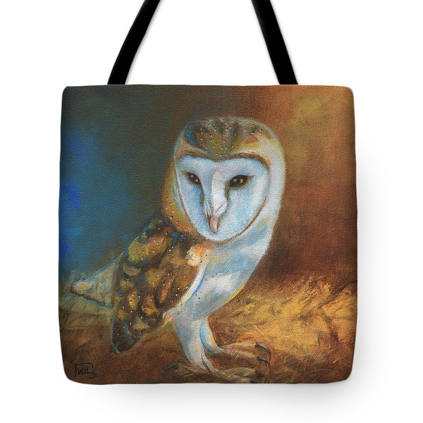 Barn Owl Blue Tote Bag