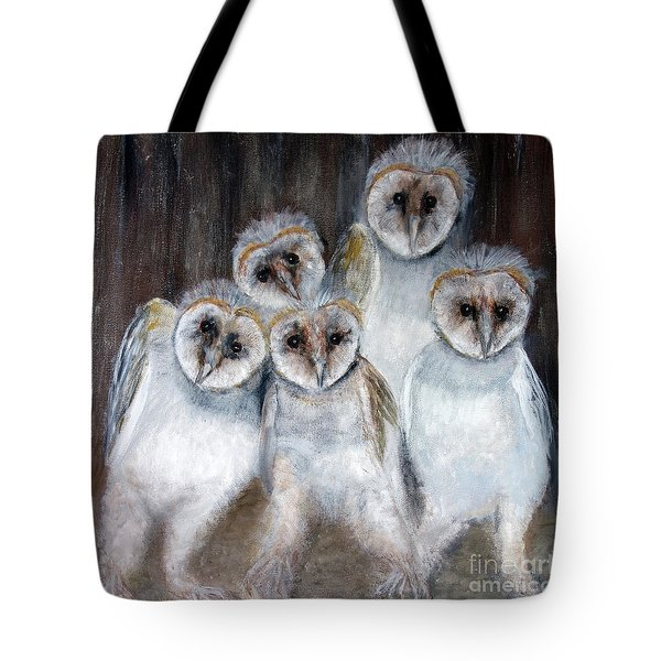 Barn Owl Chicks Tote Bag