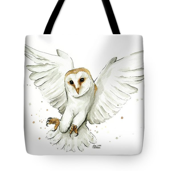 Barn Owl Flying Watercolor Tote Bag