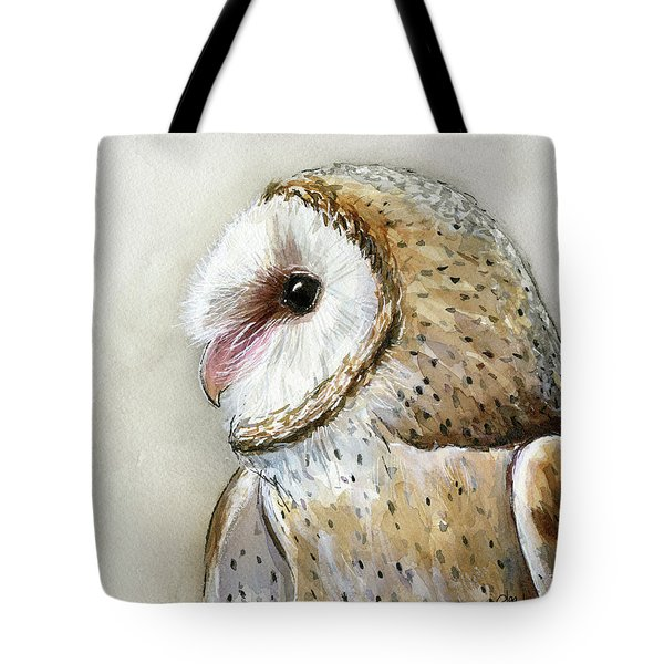Barn Owl Watercolor Tote Bag