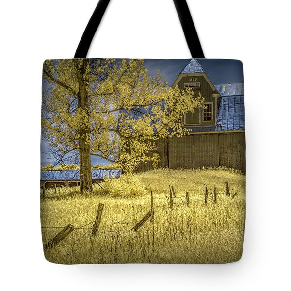Barn With Barb Wire Fence In Infrared Tote Bag