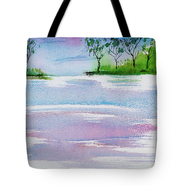 Gum Trees Frame The Sunset At Barnes Bay Tote Bag