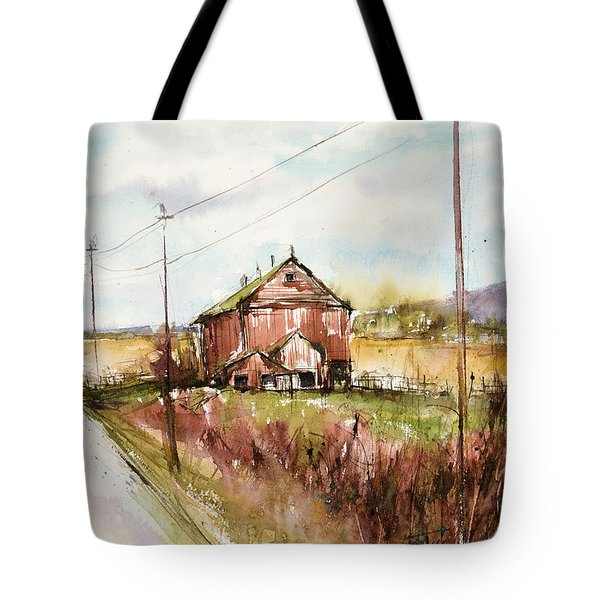 Barns And Electric Poles, Sunday Drive Tote Bag by Judith Levins