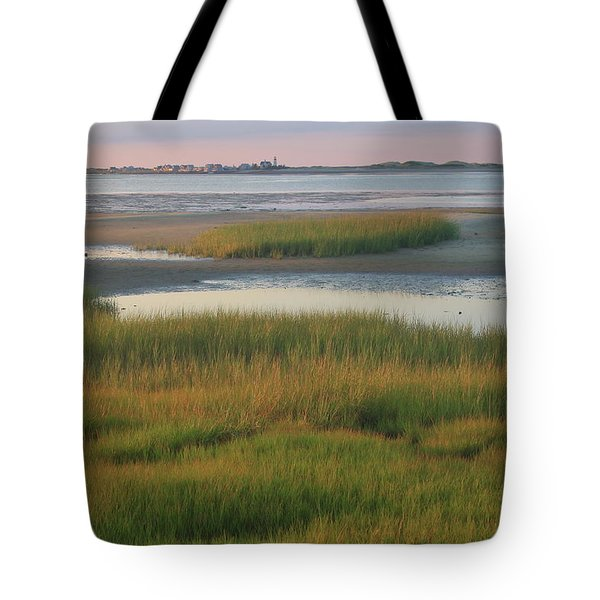 Barnstable Harbor Marsh Grasses And Sandy Neck Lighthouse Tote Bag