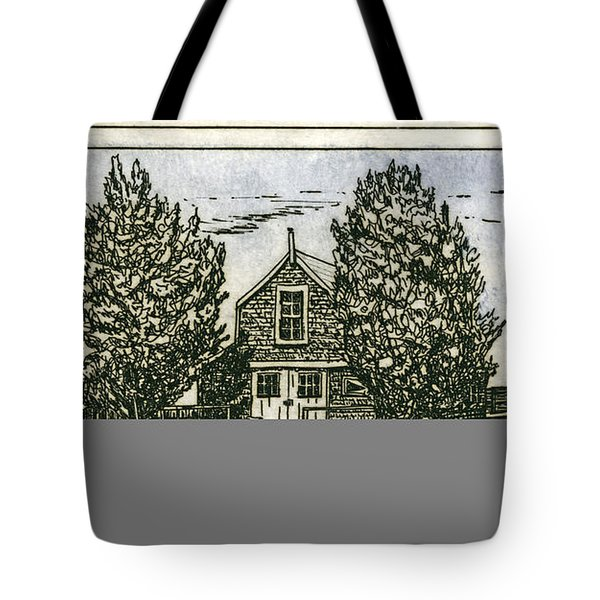 Tote Bag featuring the mixed media Barnstable Yacht Club Etching by Charles Harden