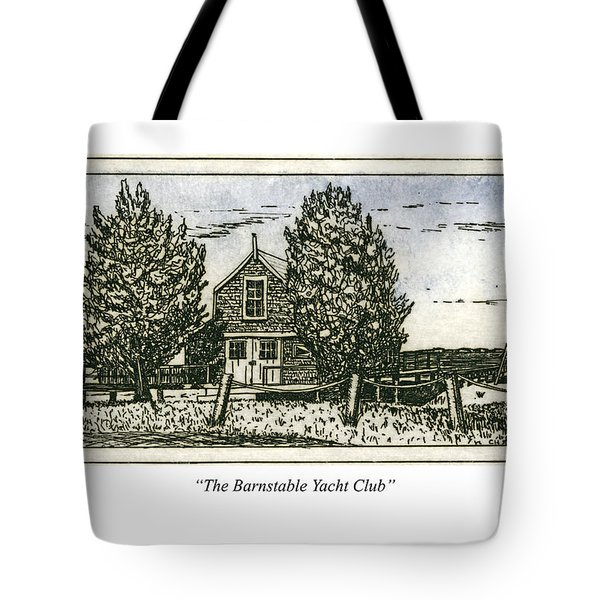 Tote Bag featuring the mixed media Barnstable Yacht Club Greeting Card by Charles Harden