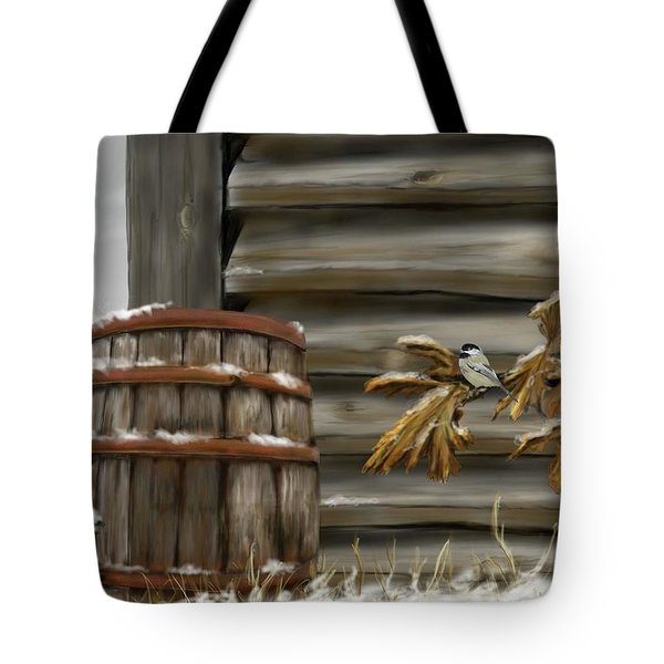 Tote Bag featuring the digital art Barnyard Barrel And Chickadee by Darren Cannell