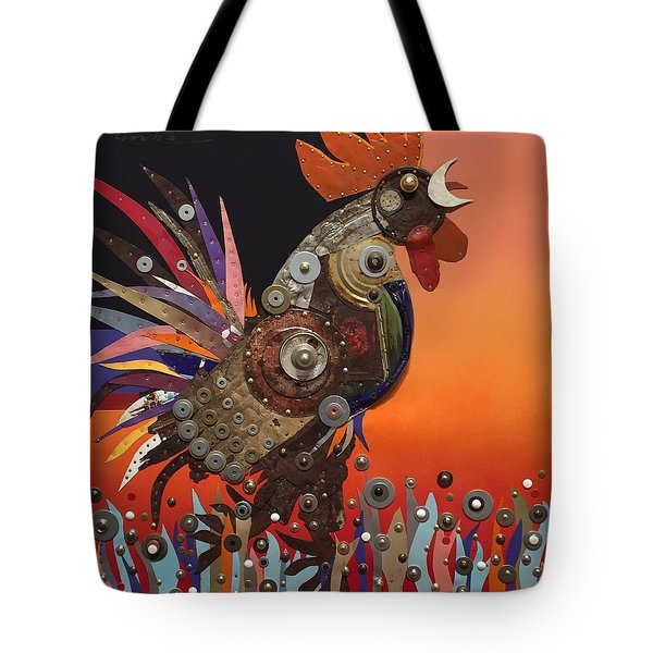Tote Bag featuring the painting Barnyard Gladiator by Bob Coonts