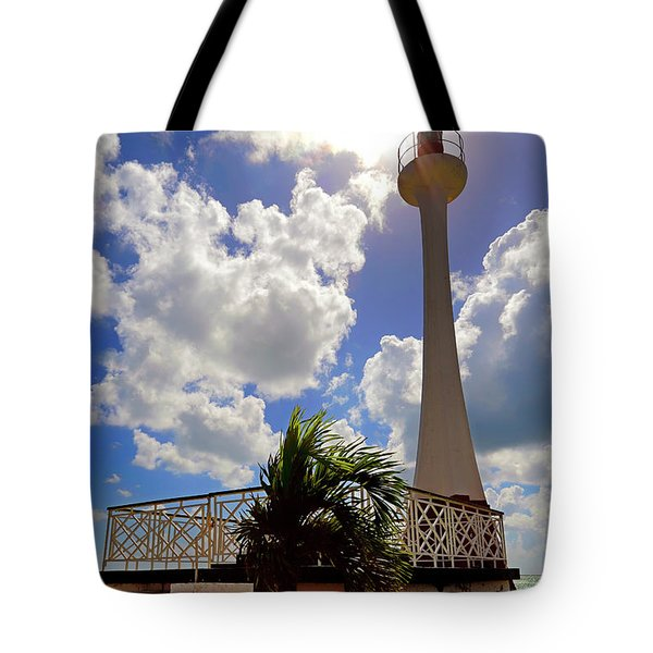 Tote Bag featuring the photograph Baron Bliss Lighthouse - Fort George, Belize - Caribbean by Jason Politte