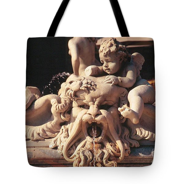 Baroque Fountain Sculpture With Cherub In Piazza Navone Rome Italy Tote Bag