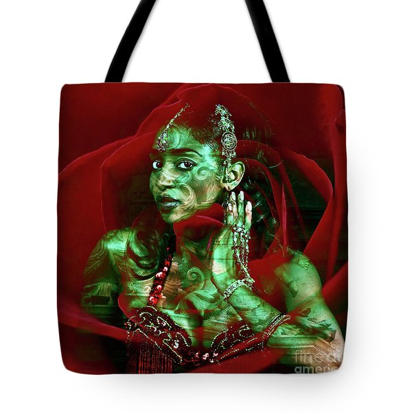Tote Bag featuring the digital art Baroque Meets Oriental Rose by Silva Wischeropp