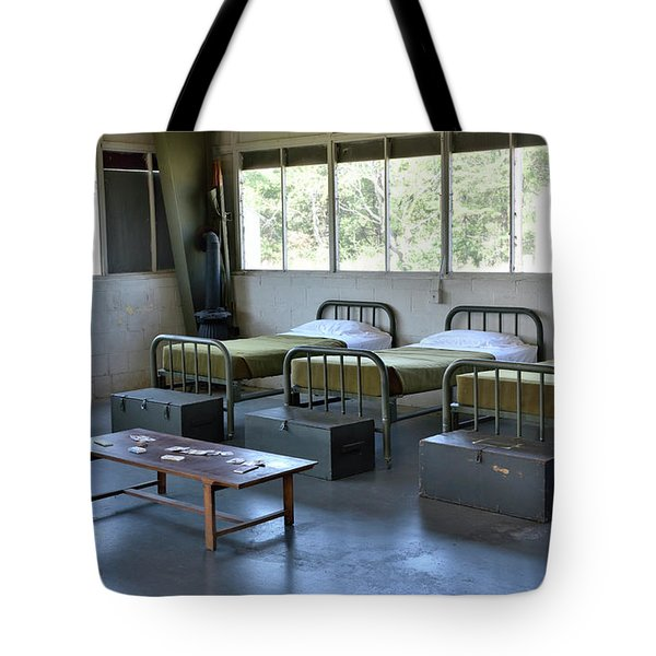 Tote Bag featuring the photograph Barrack Interior At Fort Miles - Delaware by Brendan Reals