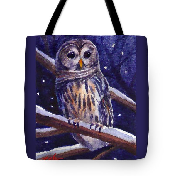 Barred Owl And Starry Sky Tote Bag
