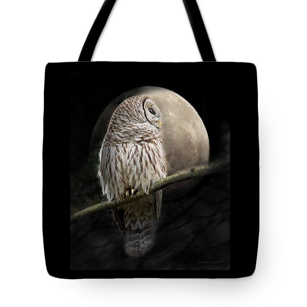 Barred Owl Moon Glow Tote Bag
